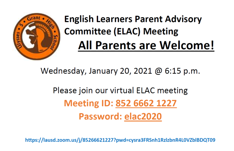 ELAC meeting January 20, Wednesday, at 6:15 Featured Photo