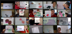 Zoom class showing Chinese new year projects
