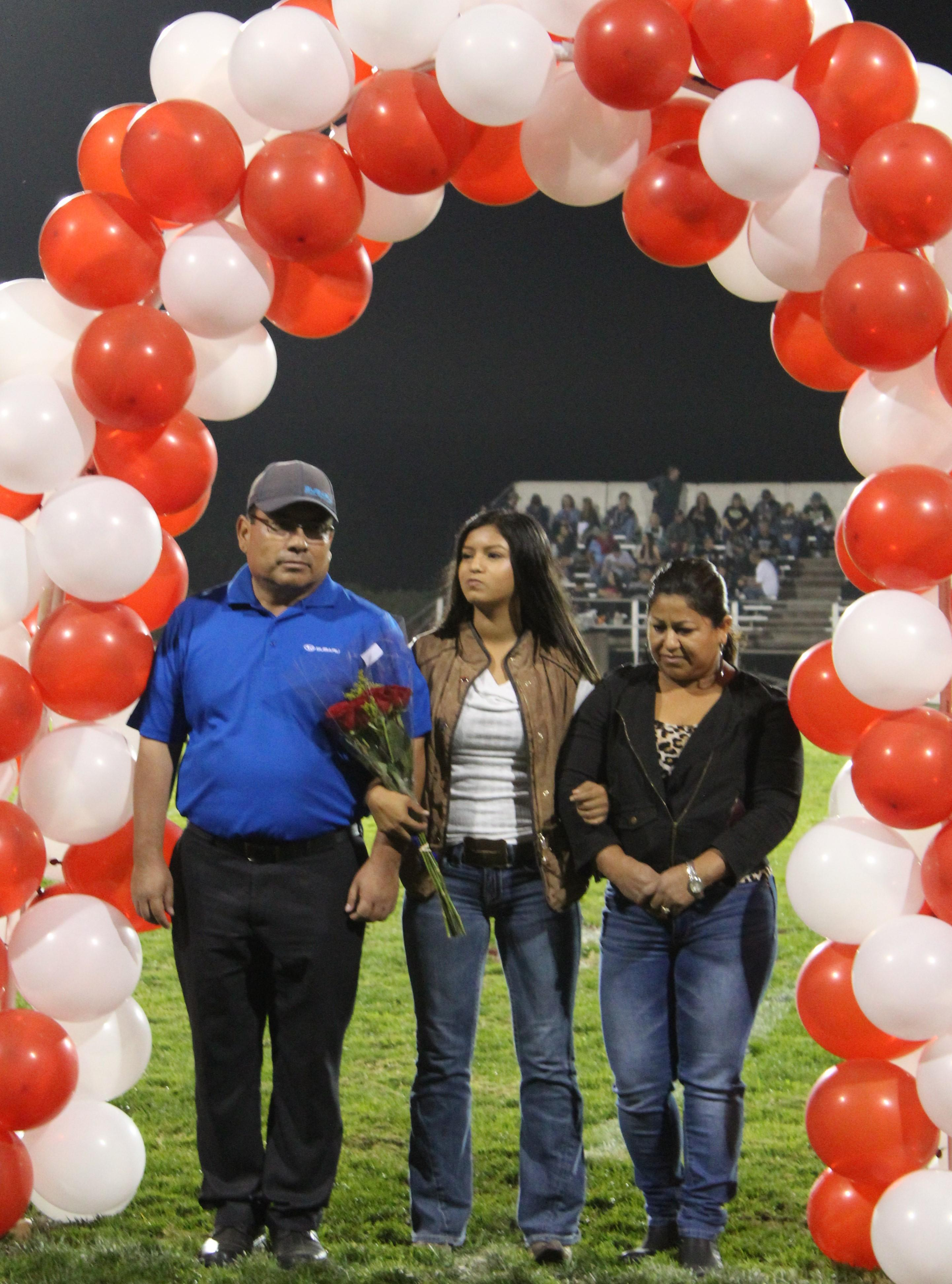 Francisca Salas and her supporters at Senior Night.