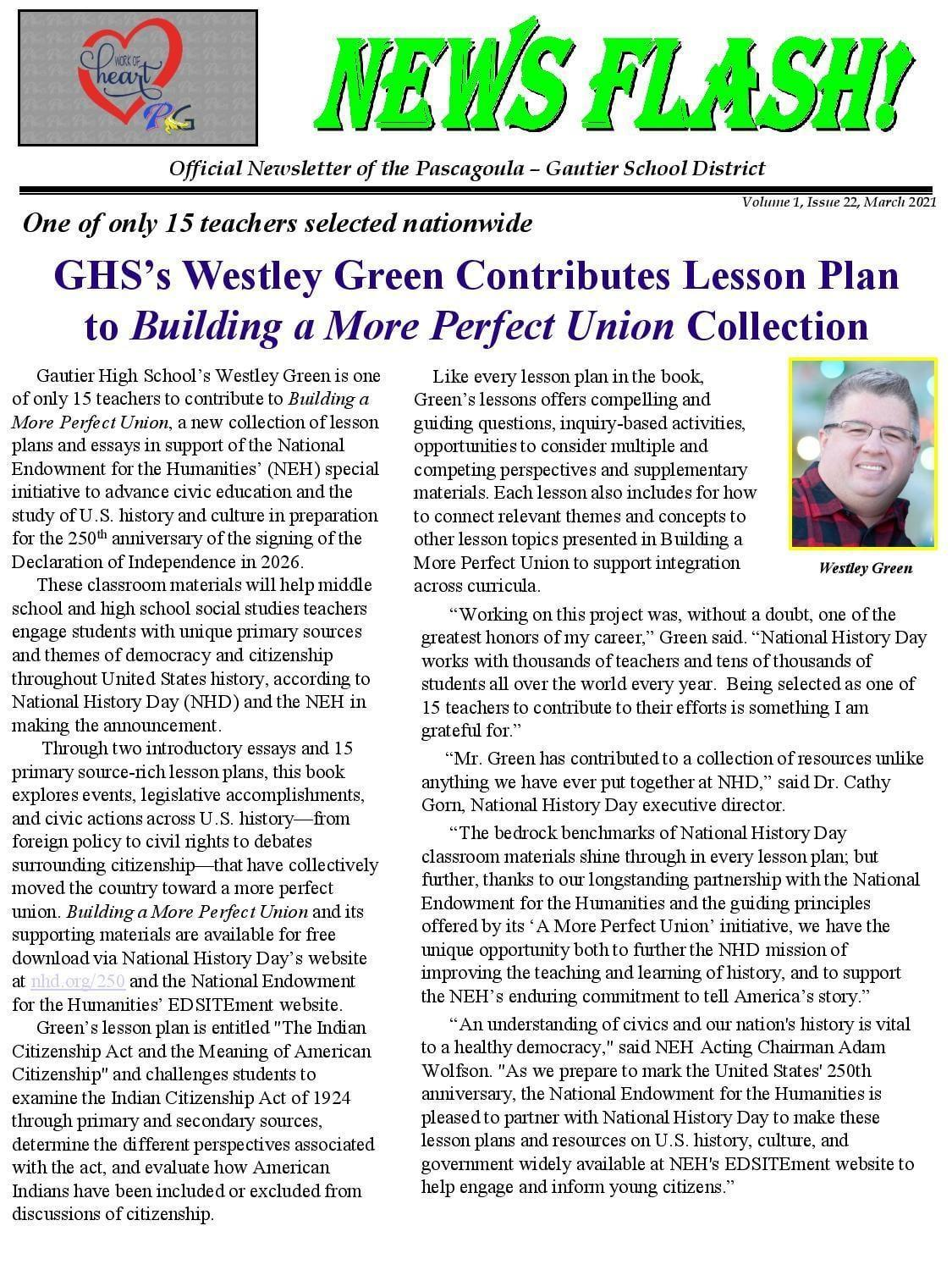 GHS Westley Green Contributes Lesson Plan to Building a More Perfect Union Collection
