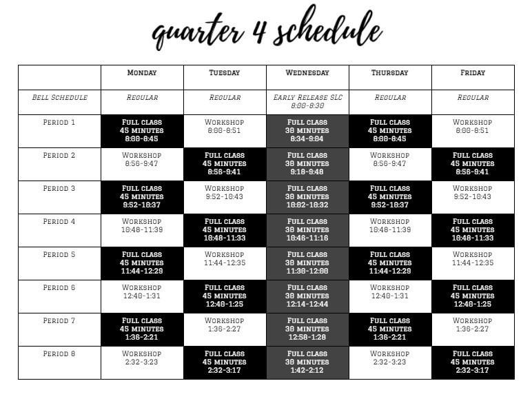 UPDATED for Q4 - Remote Learning Bell Schedules Featured Photo