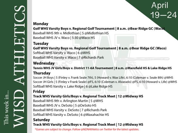 graphic describing WISD athletics schedule for the week