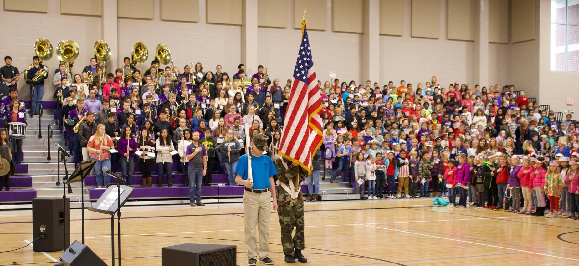 Two students with flag