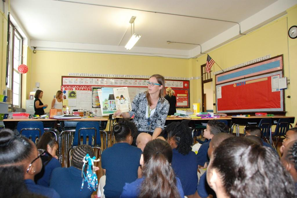 Teacher reading to class, first day of school, 2016-17