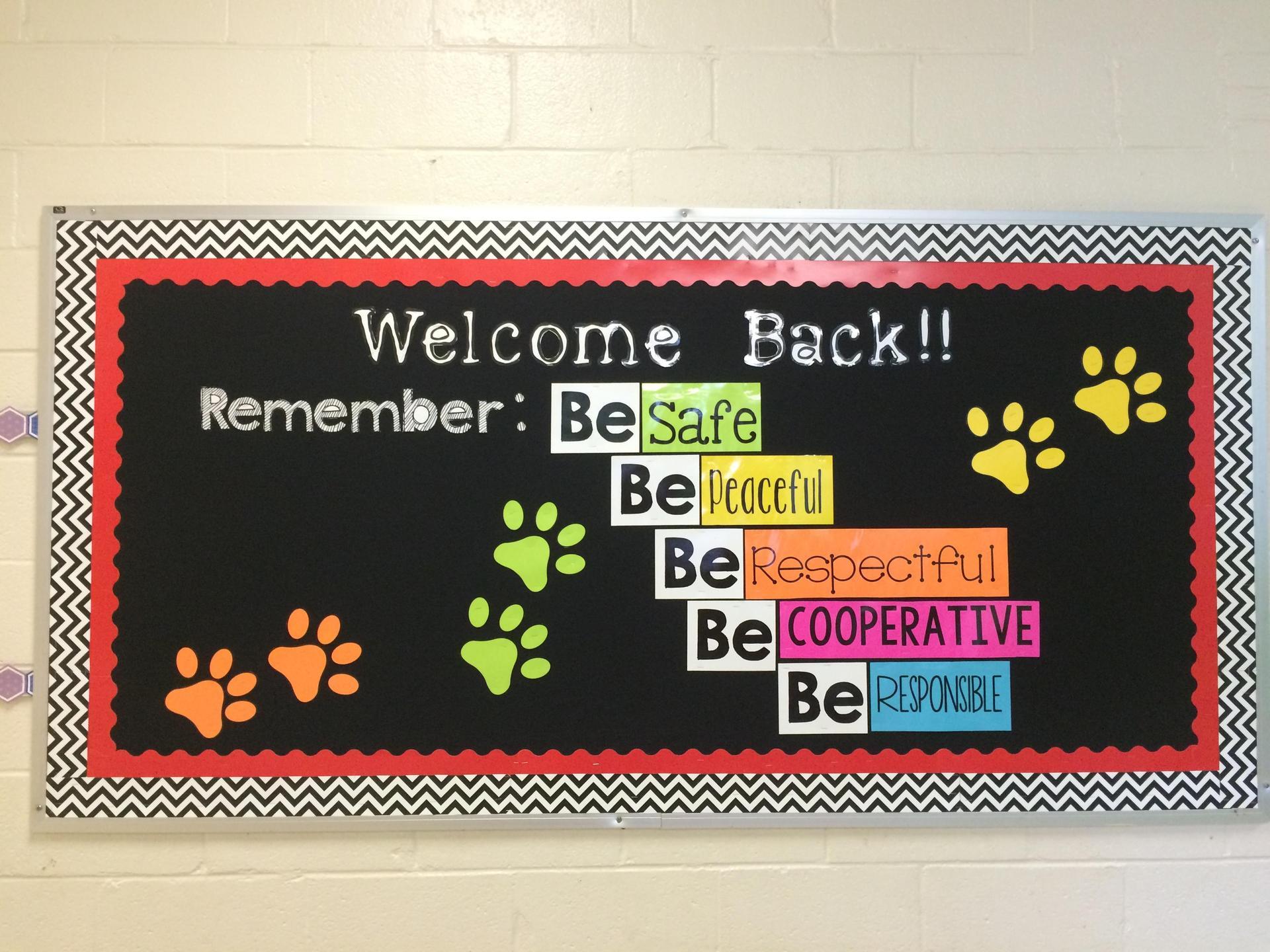 Welcome Back Bulliten Board