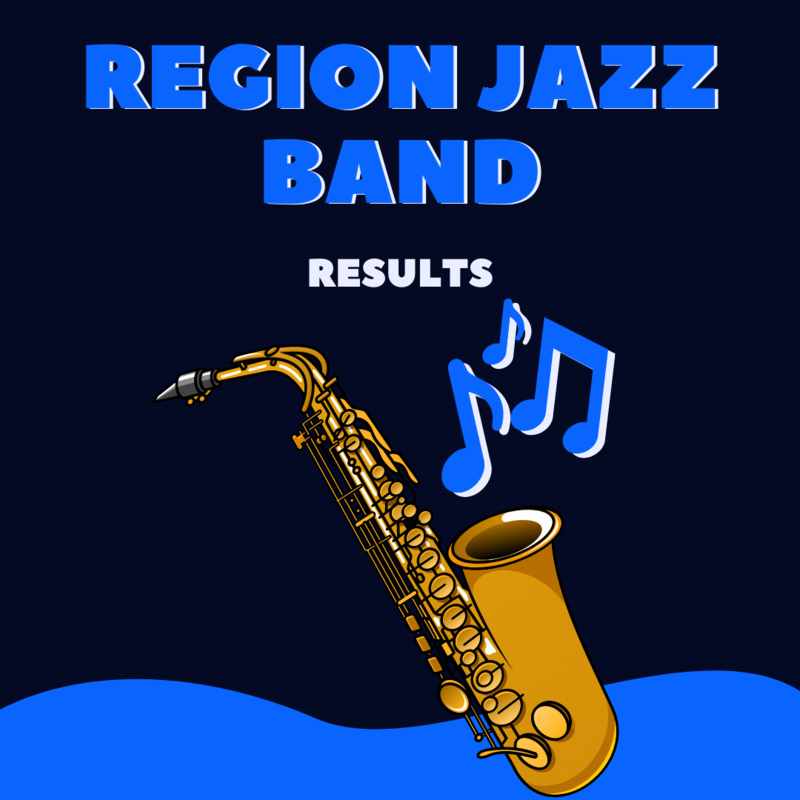 graphic reads region jazz band results on dark blue background with a cartoon saxophone