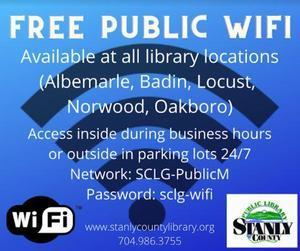 Image free wifi at all Stanly County Public Library locations