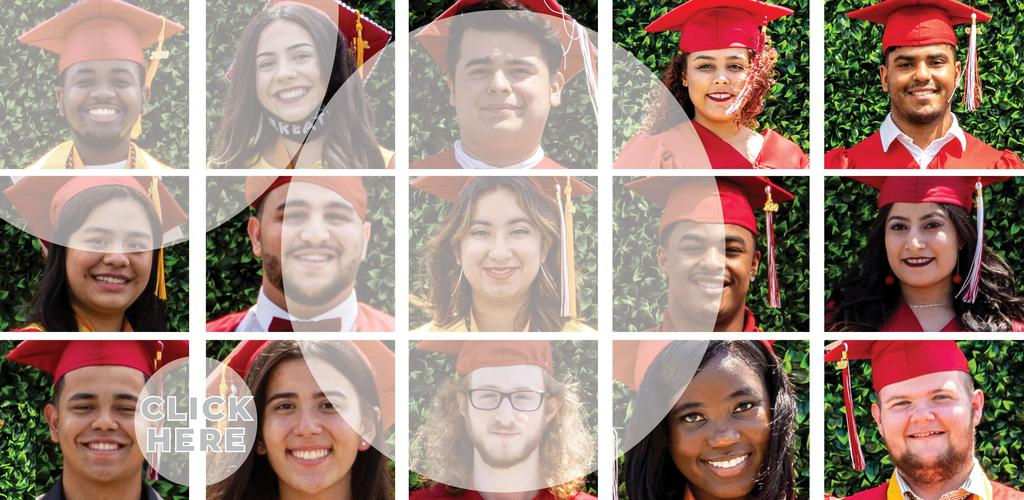 A collage of EHS graduates, faces only, with gradient circles over the top