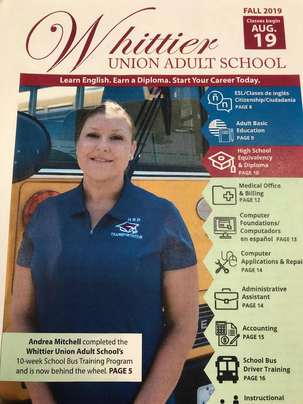 Cover of Fall 2019 Whittier Union Adult School schedule of classes