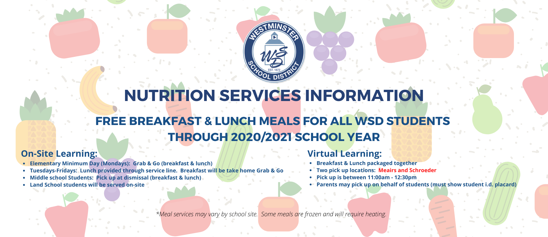 Meals Info for the rest of school year 2020-2021
