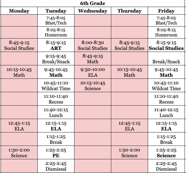 Grade 6 Schedule Matrix