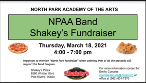 NPAA Band Fundraiser March 18th from 4-7 pm