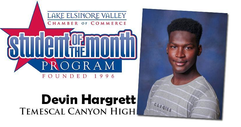 Devin Hargrett, Temescal Canyon HS, is one of our Student of the Month Program honorees for December. Congratulations!