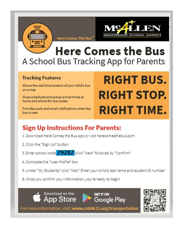 Here comes the bus app English
