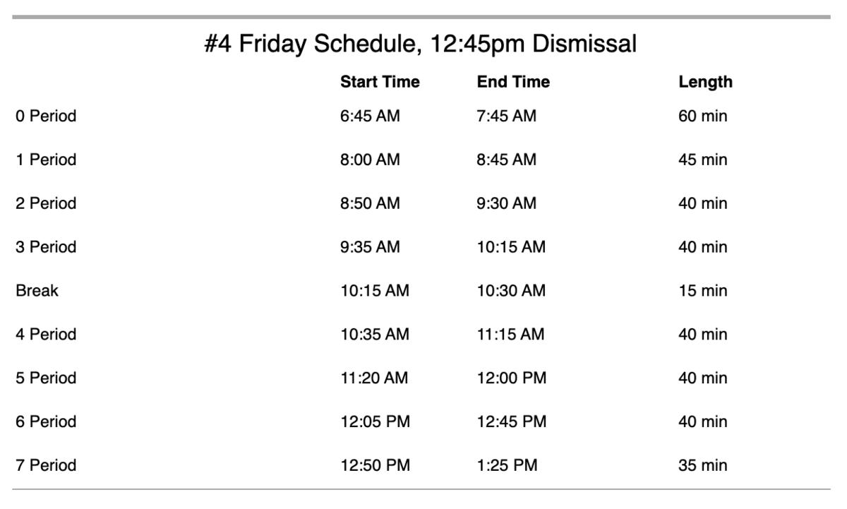 #4 schedule