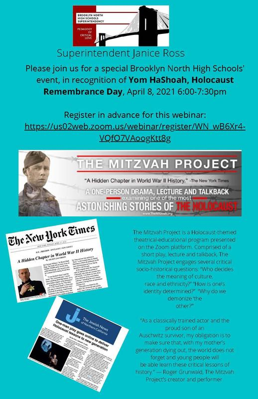 The Mitvah Project - Yom HaShoah, Holocaust Remembrance Day, April 8, 2021 - 6:00 - 7:30pm