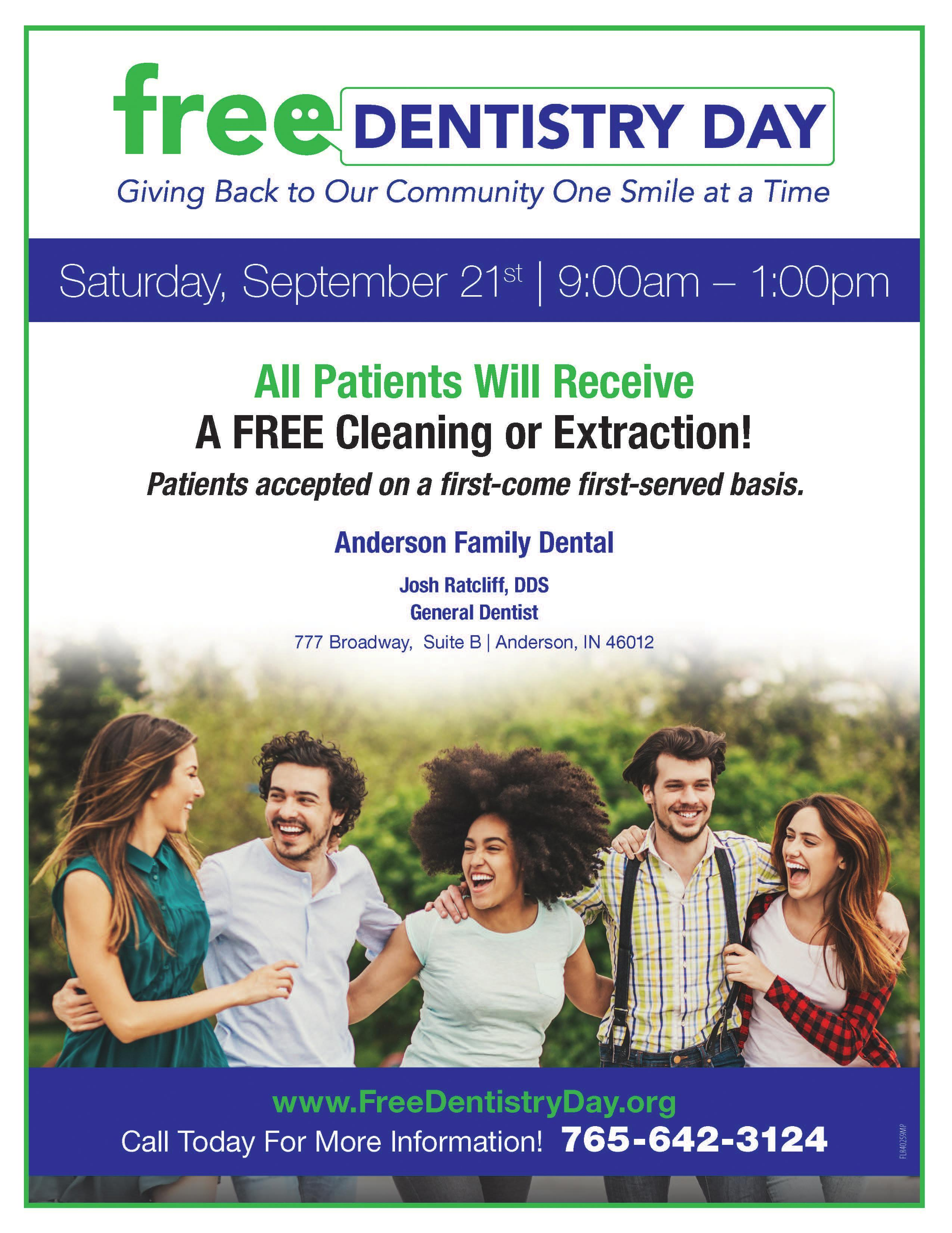 flyer for free dental work on 9 21 2019