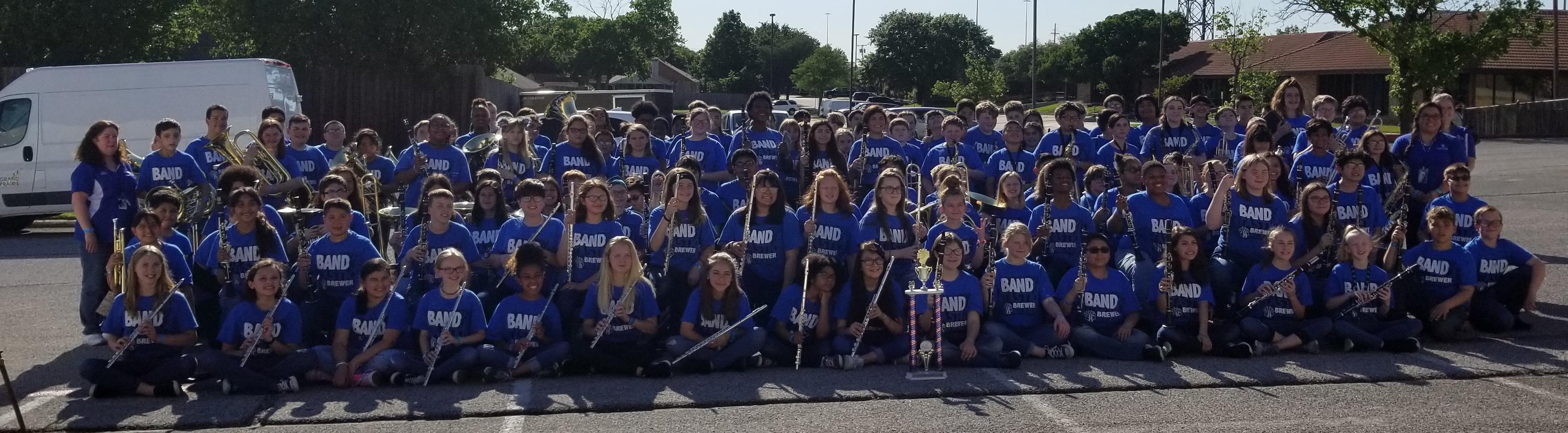 The Brewer Beginning Band received a 1st division trophy at the Pride of Texas Music Festival on April 25.  The band is comprised of 163 Tannahill Intermediate, Brewer Middle School, and Fine Arts Academy students.