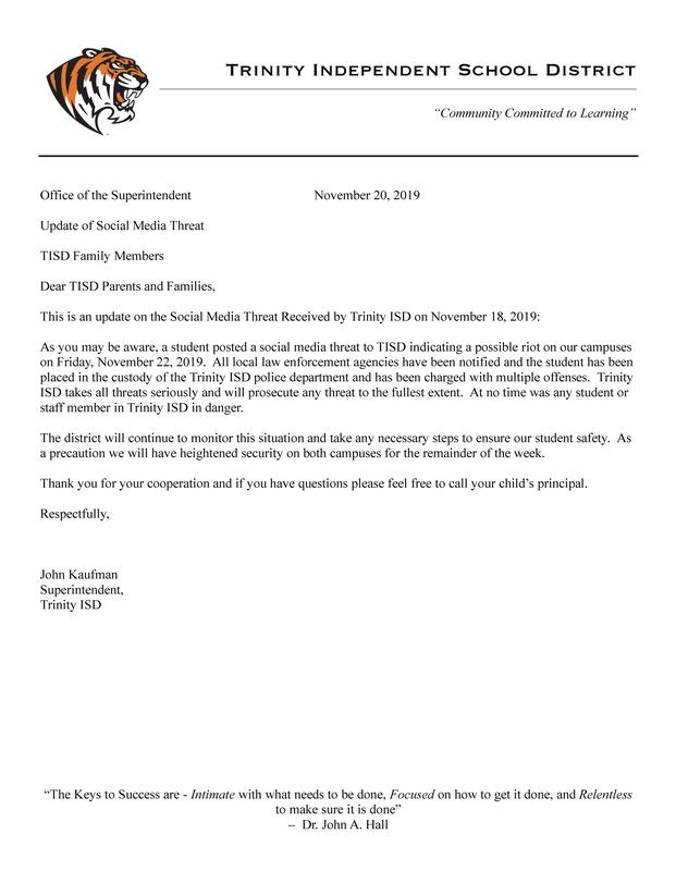 UPDATE: TISD Response to Social Media Threat! Thumbnail Image