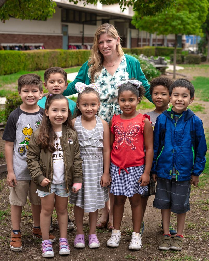 Principal Renee MacKay with some Orchard Dale students.