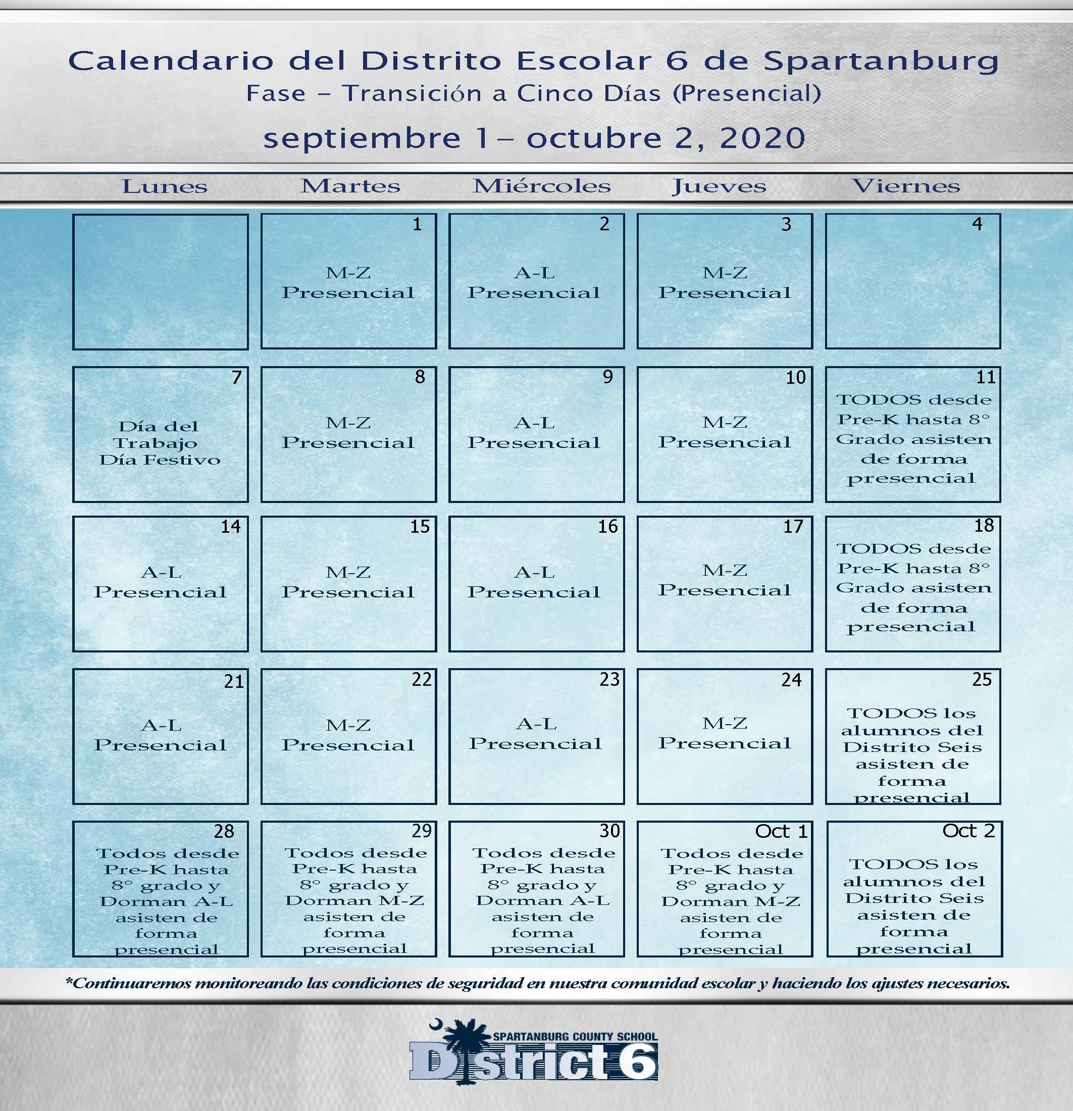 Spanish version calendar