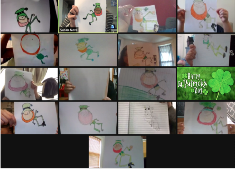 Zoom class showing drawings of leprechauns