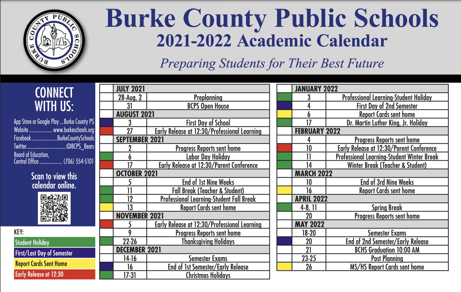 burke county 2021-2022 school calendar