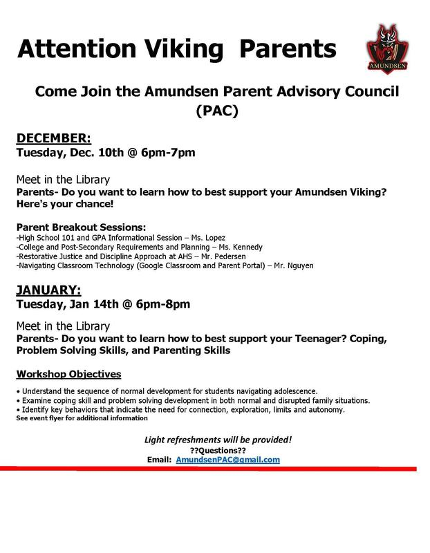 Parent Advisory Council Events for December and January Featured Photo