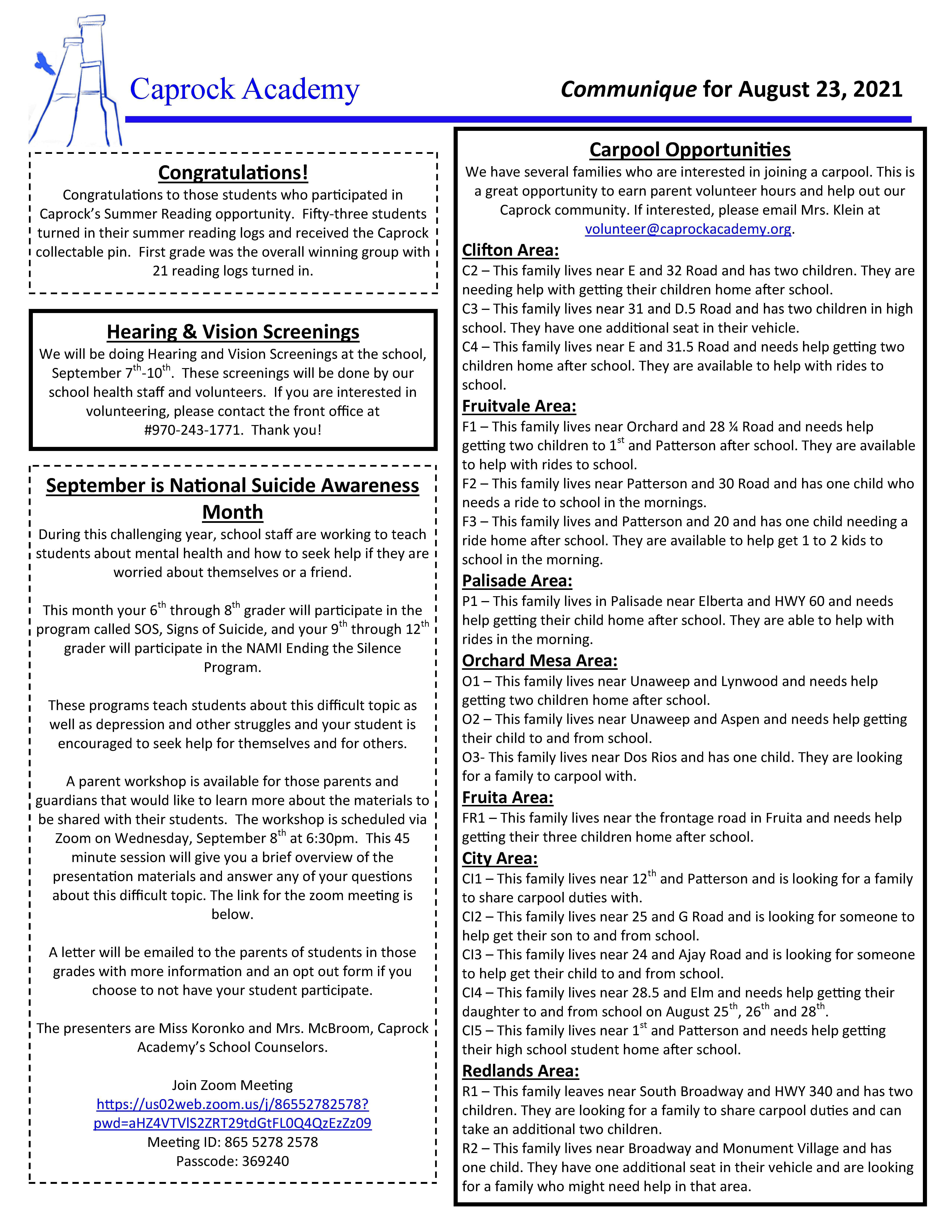 Caprock Communique 8-23-21 page 2 of 2