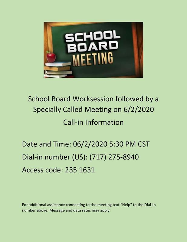 School Board Worksession June 2, 2020 at 5:30 pm
