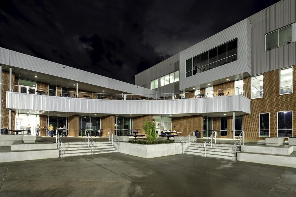 rear view of the school at night