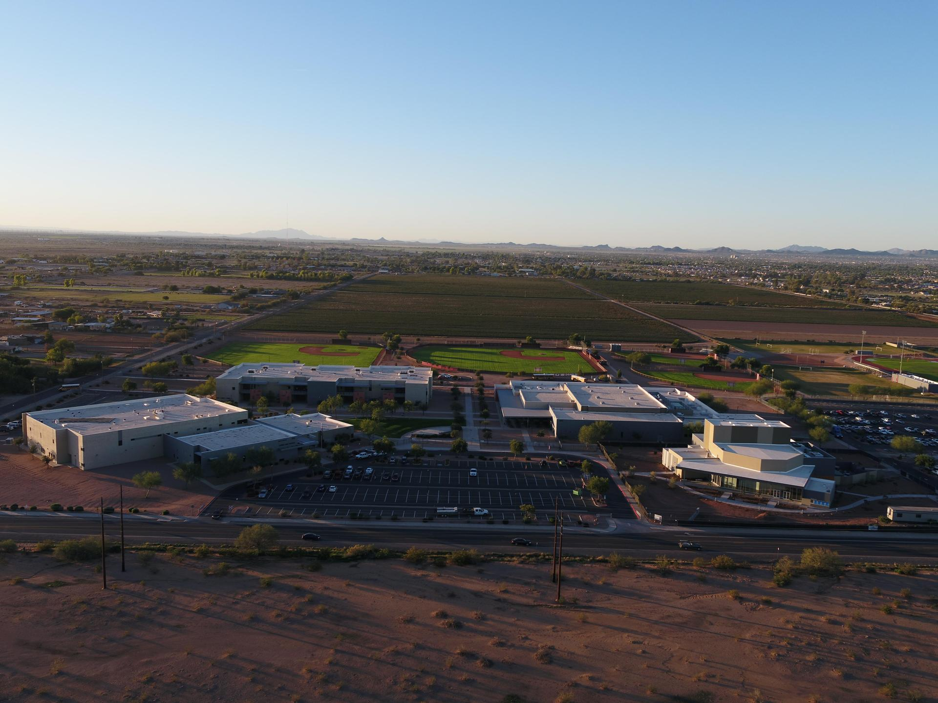 Combs High School campus aerial view