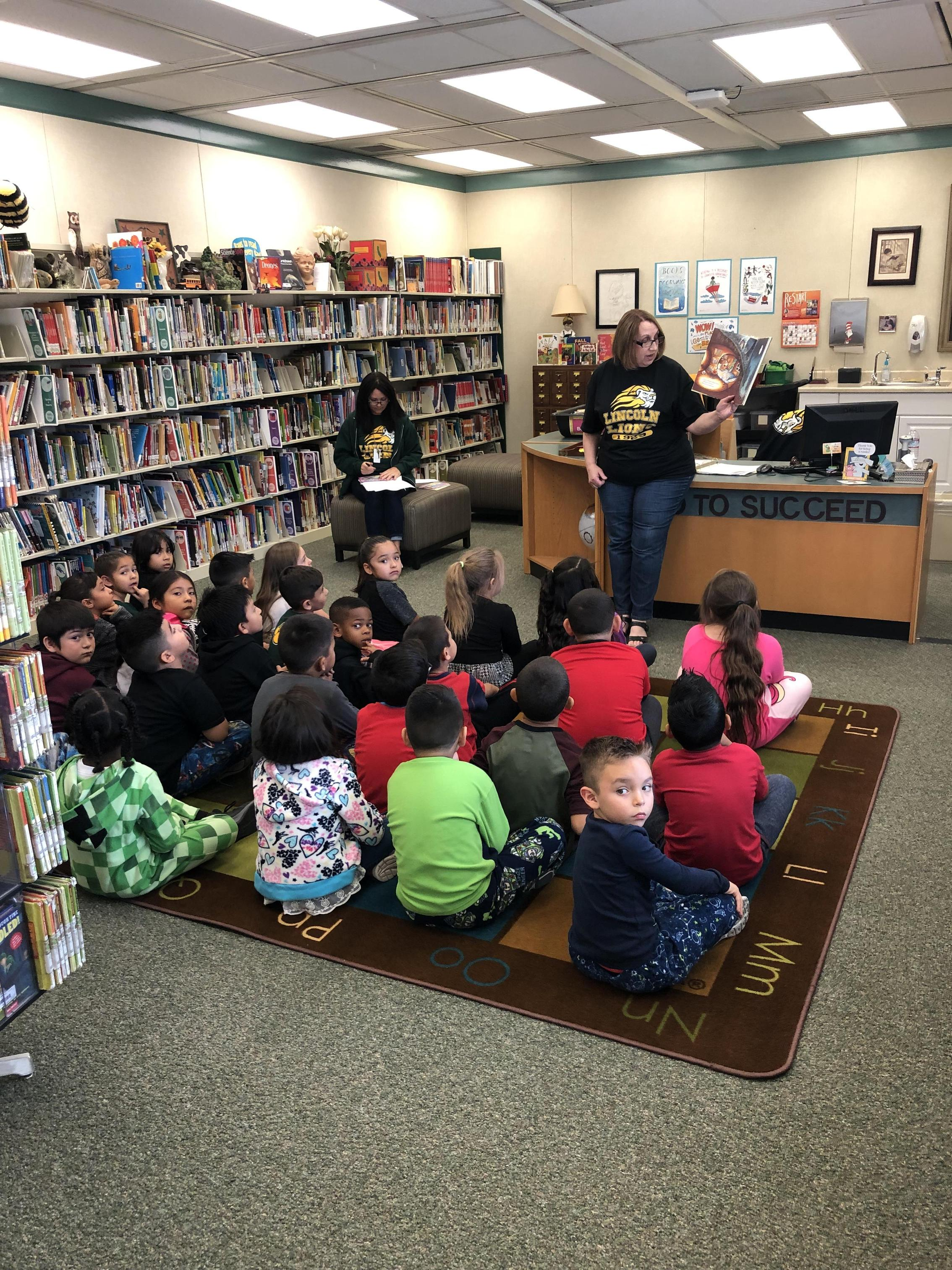 Librarian reading story