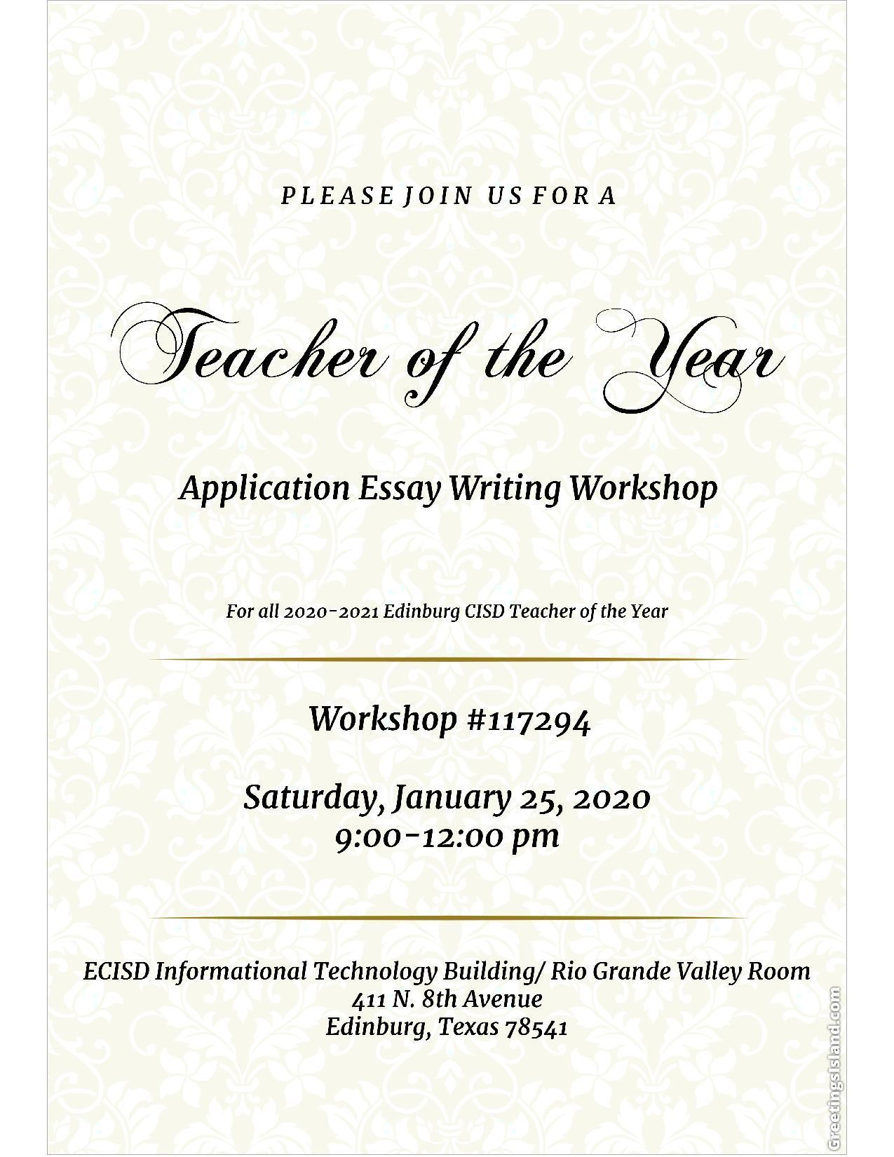 Teacher of the Year Writing Brunch Invitation