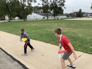 Showing great form in frisbee golf at CCIS