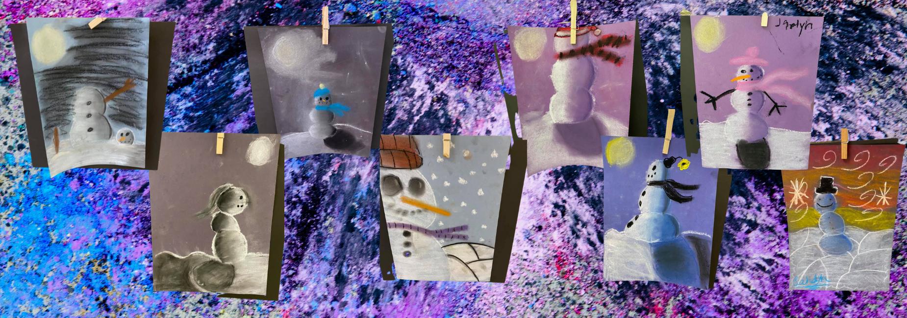 collage of chalk art of snowmen