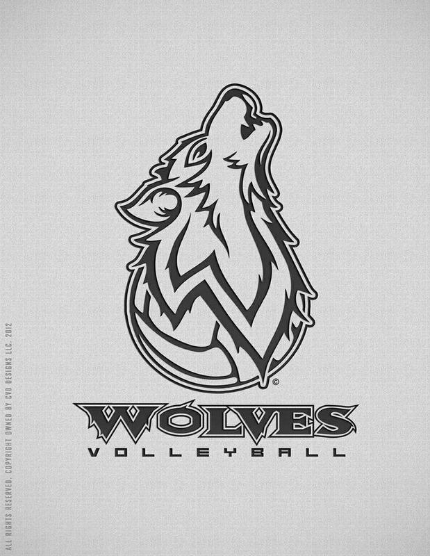 volleyball with wolf coming out of it