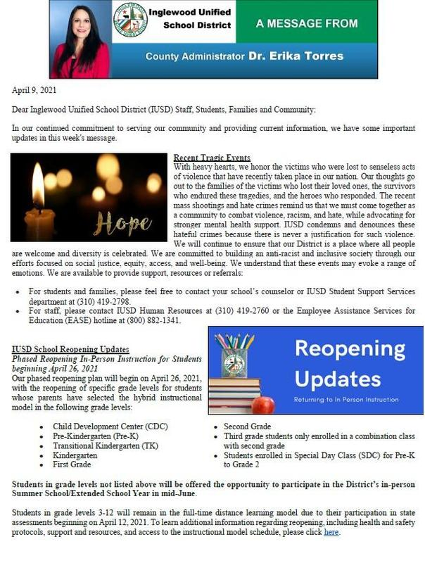 IUSD Communication to Parents, Staff, and Community - 4-9-2021 Featured Photo