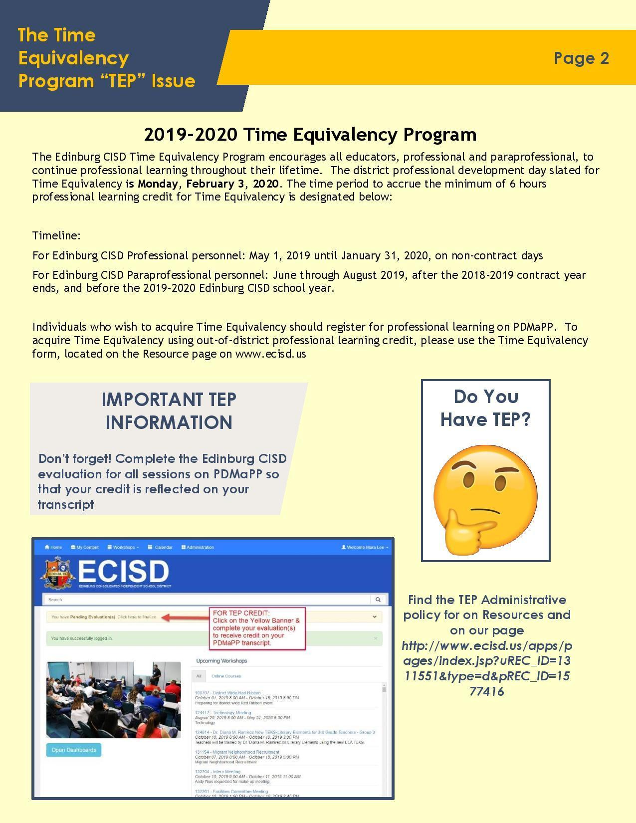 The Time Equivalency Program Newsletter page 2