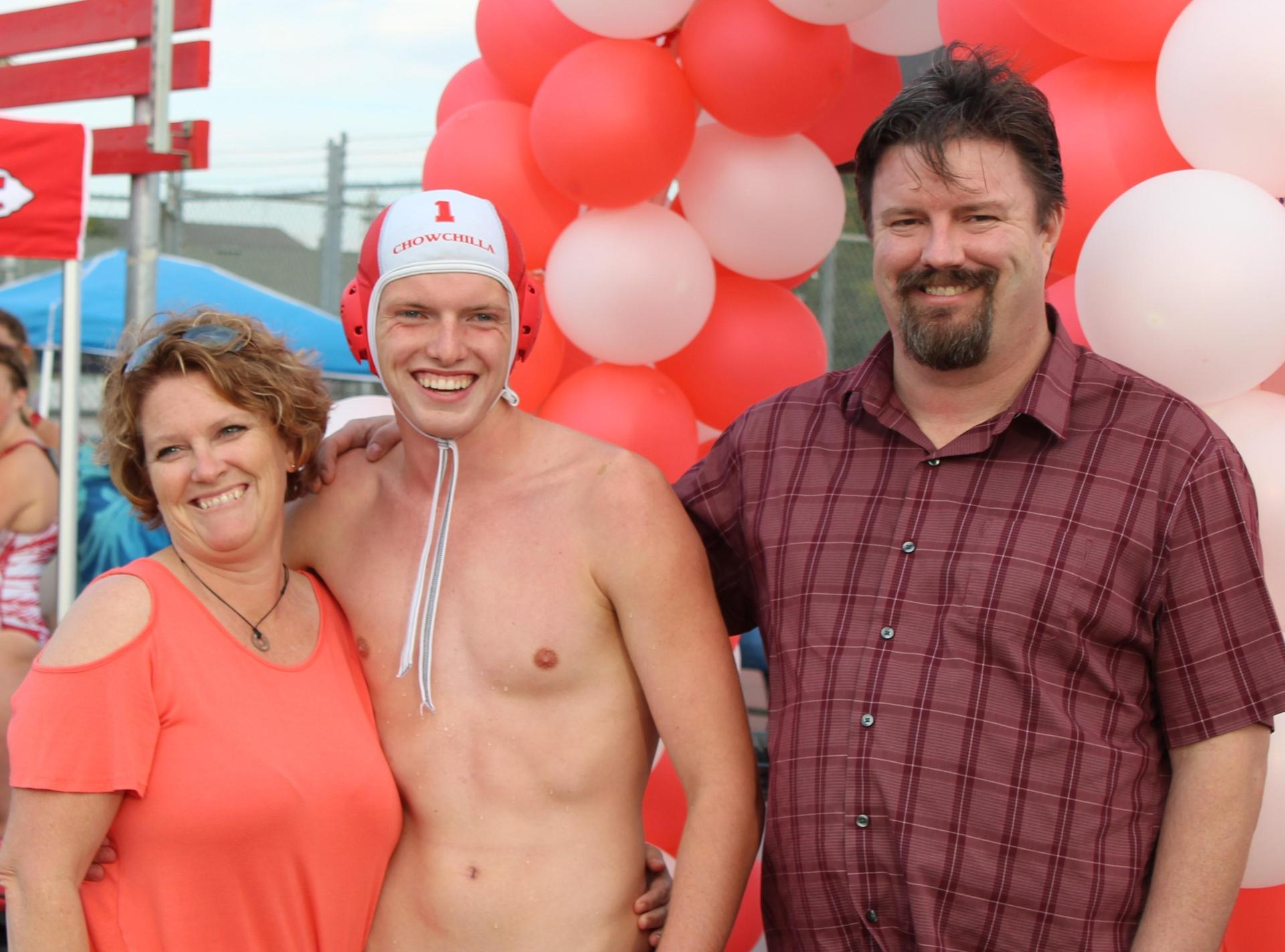 Connor Telford and his family on Water Polo Senior Night.