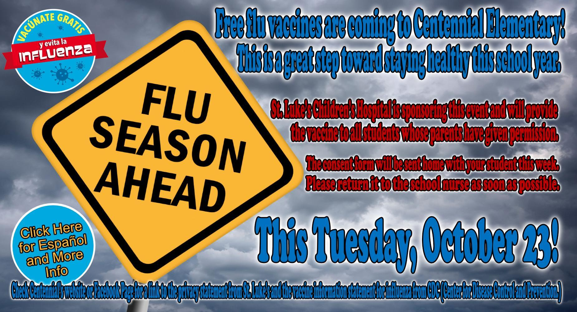 Free Student Flu Vaccinations - October 23rd
