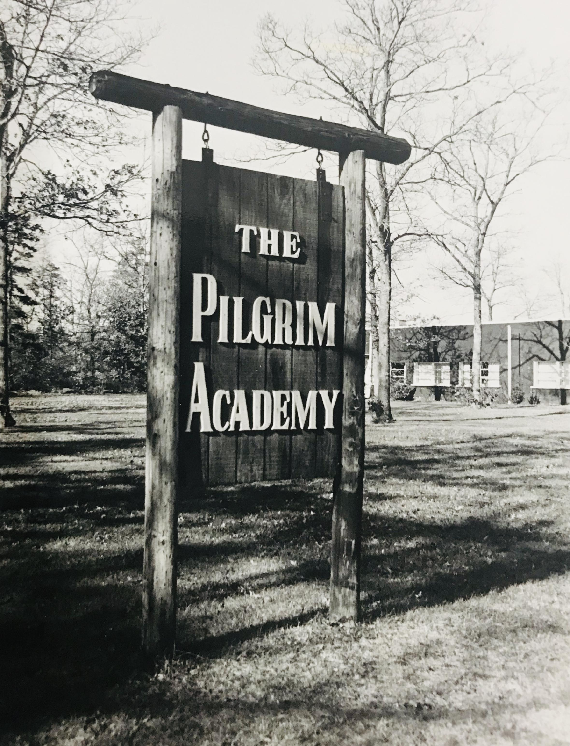 Black and white photo of sign