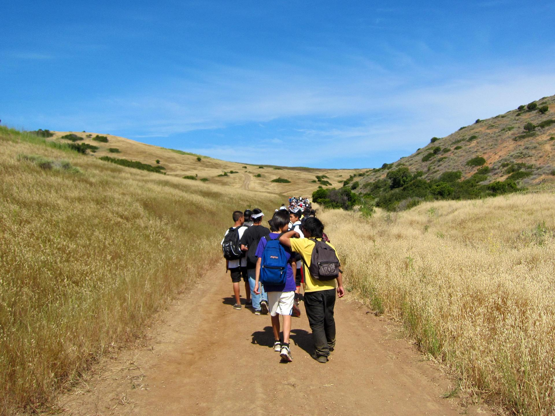 students hiking on Catalina