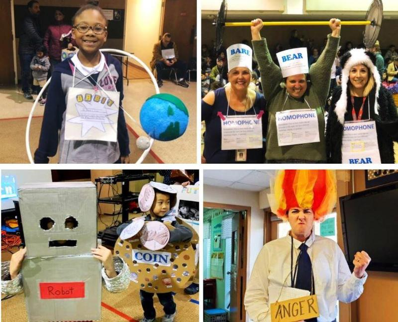 Students and teachers dressed up in homemade costumes representing vocabulary words