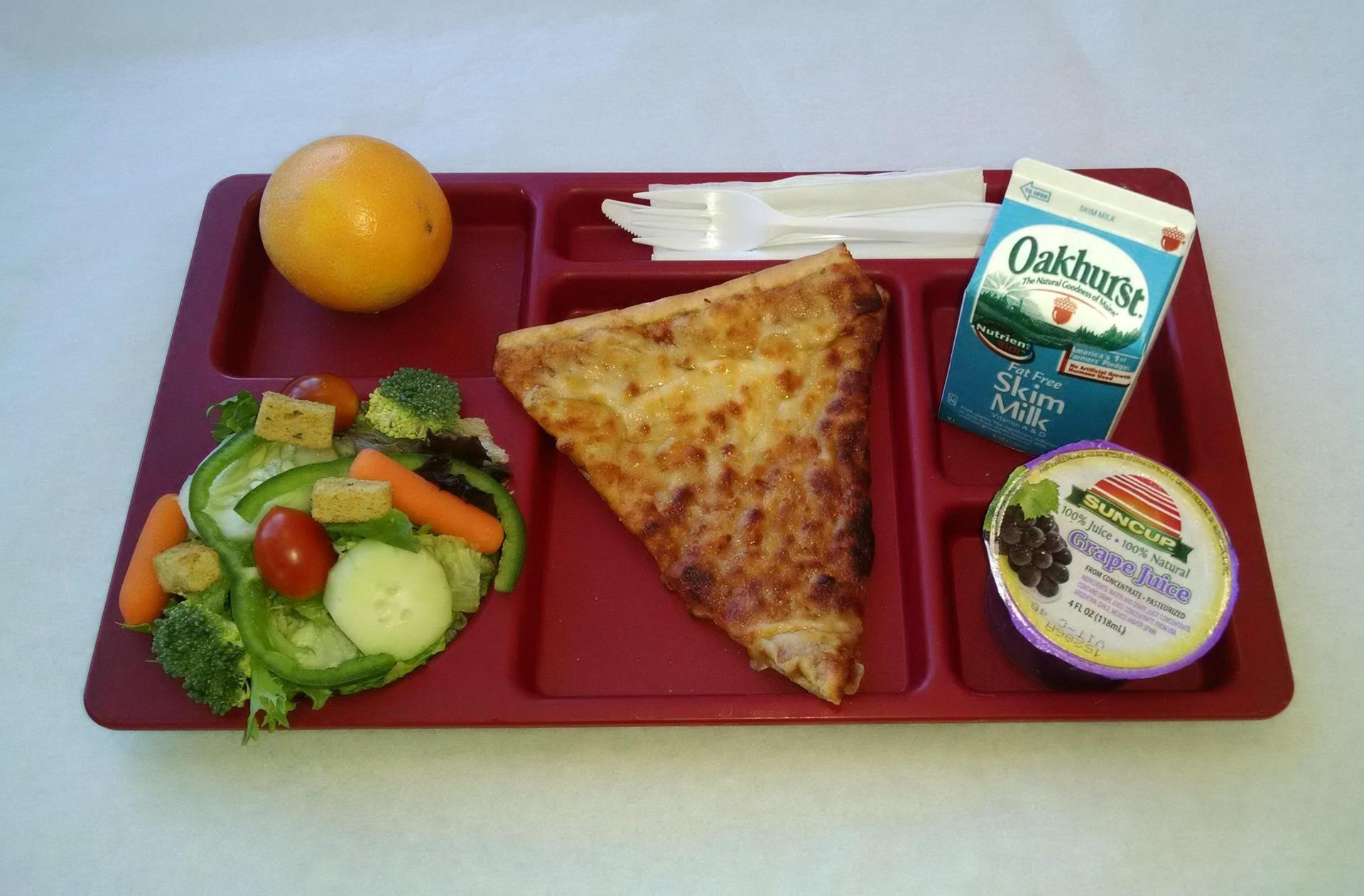 Slice of Cheese Pizza, Salad, Orange, 100% Juice and Milk