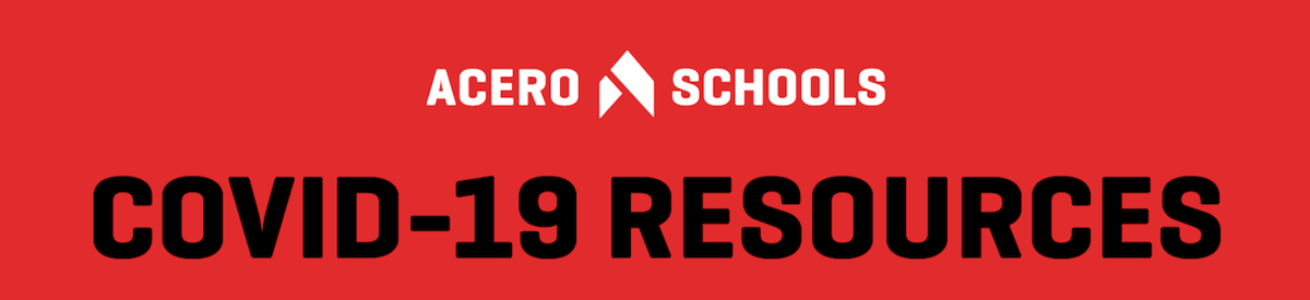 Banner stating COVID-19 Resources in black font and acero schools logo