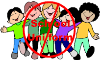 non-uniform sign and kids in casual clothing