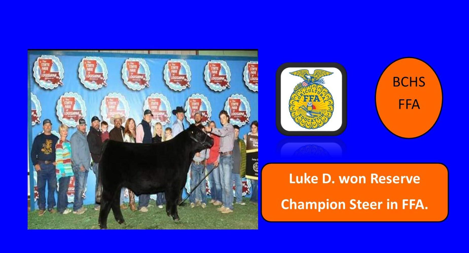BCHS-FFA - Luke D. won Reserve Champion Steer in FFA.