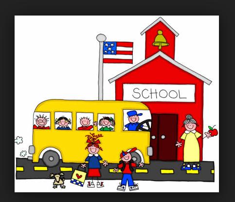 clip art of kids arriving to school