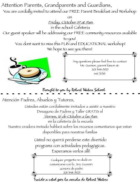 Parent Breakfast Workshop Invitation for Friday, October 19